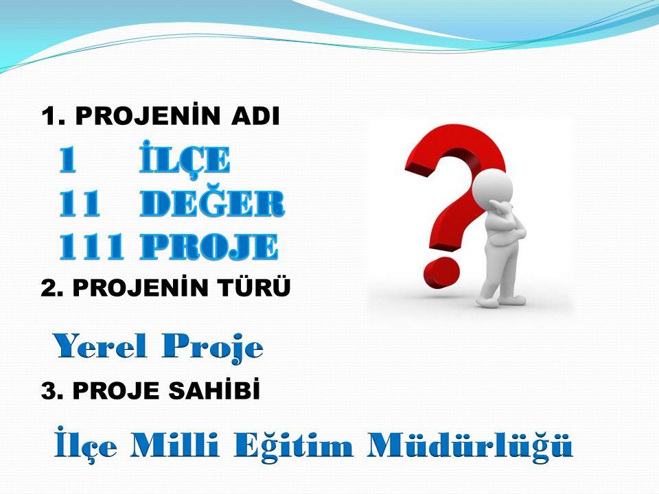1. PROJENİN ADI 2. PROJENİN TÜRÜ 3. PROJE SAHİBİ