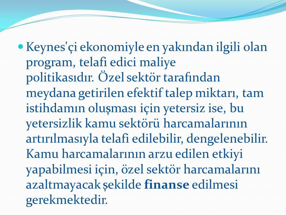 Keynes çi ekonomiyle en yakından ilgili olan program, telafi edici maliye politikasıdır.
