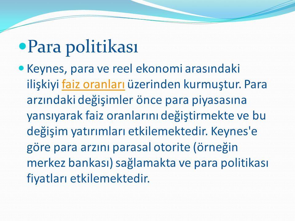 Para politikası Keynes, para ve reel ekonomi arasındaki ilişkiyi faiz oranları üzerinden kurmuştur.