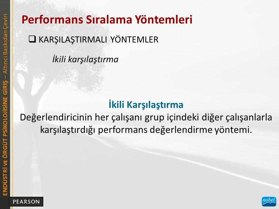 Performans Sıralama Yöntemleri  KARŞILAŞTIRMALI YÖNTEMLER İkili Karşılaştırma Değerlendiricinin her çalışanı grup içindeki diğer çalışanlarla karşılaştırdığı performans değerlendirme yöntemi.