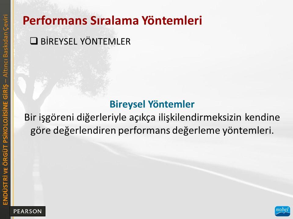 Performans Sıralama Yöntemleri  BİREYSEL YÖNTEMLER Bireysel Yöntemler Bir işgöreni diğerleriyle açıkça ilişkilendirmeksizin kendine göre değerlendiren performans değerleme yöntemleri.