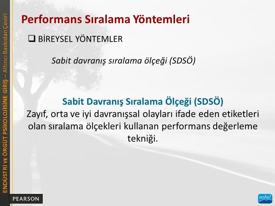 Performans Sıralama Yöntemleri  BİREYSEL YÖNTEMLER Sabit davranış sıralama ölçeği (SDSÖ) Sabit Davranış Sıralama Ölçeği (SDSÖ) Zayıf, orta ve iyi davranışsal olayları ifade eden etiketleri olan sıralama ölçekleri kullanan performans değerleme tekniği.