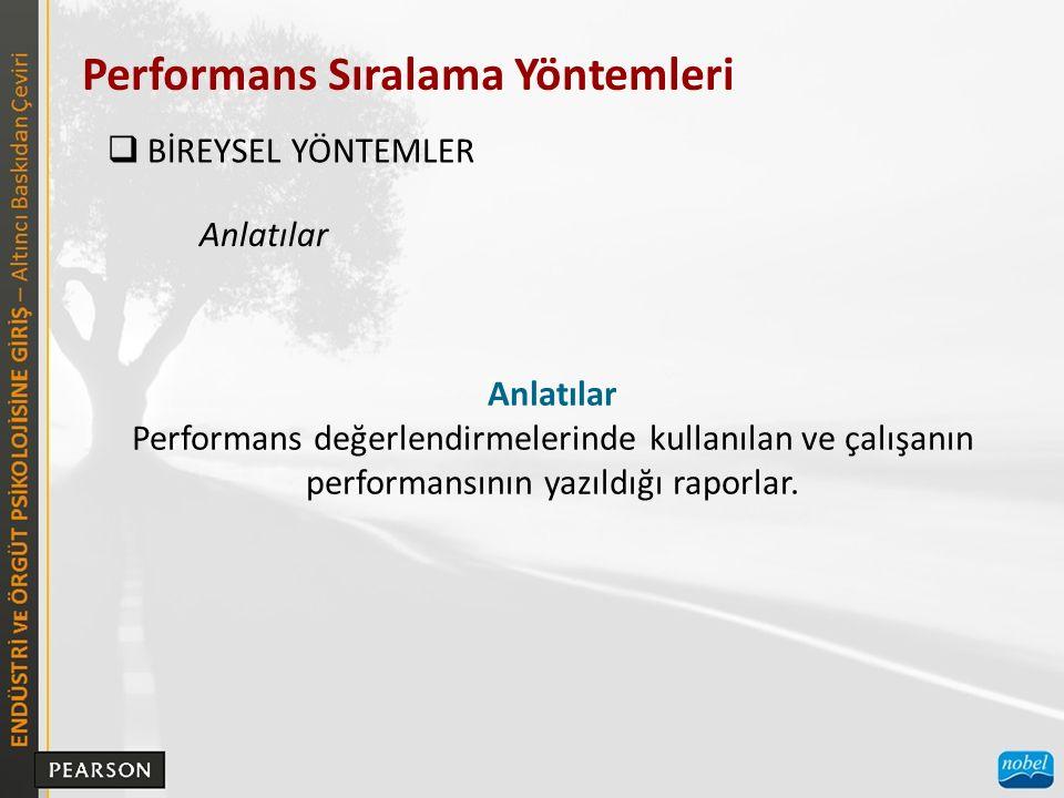 Performans Sıralama Yöntemleri  BİREYSEL YÖNTEMLER Anlatılar Performans değerlendirmelerinde kullanılan ve çalışanın performansının yazıldığı raporlar.