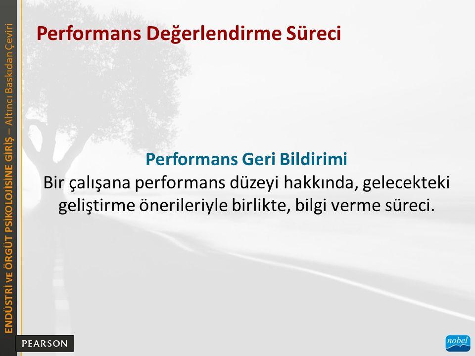 Performans Değerlendirme Süreci Performans Geri Bildirimi Bir çalışana performans düzeyi hakkında, gelecekteki geliştirme önerileriyle birlikte, bilgi verme süreci.