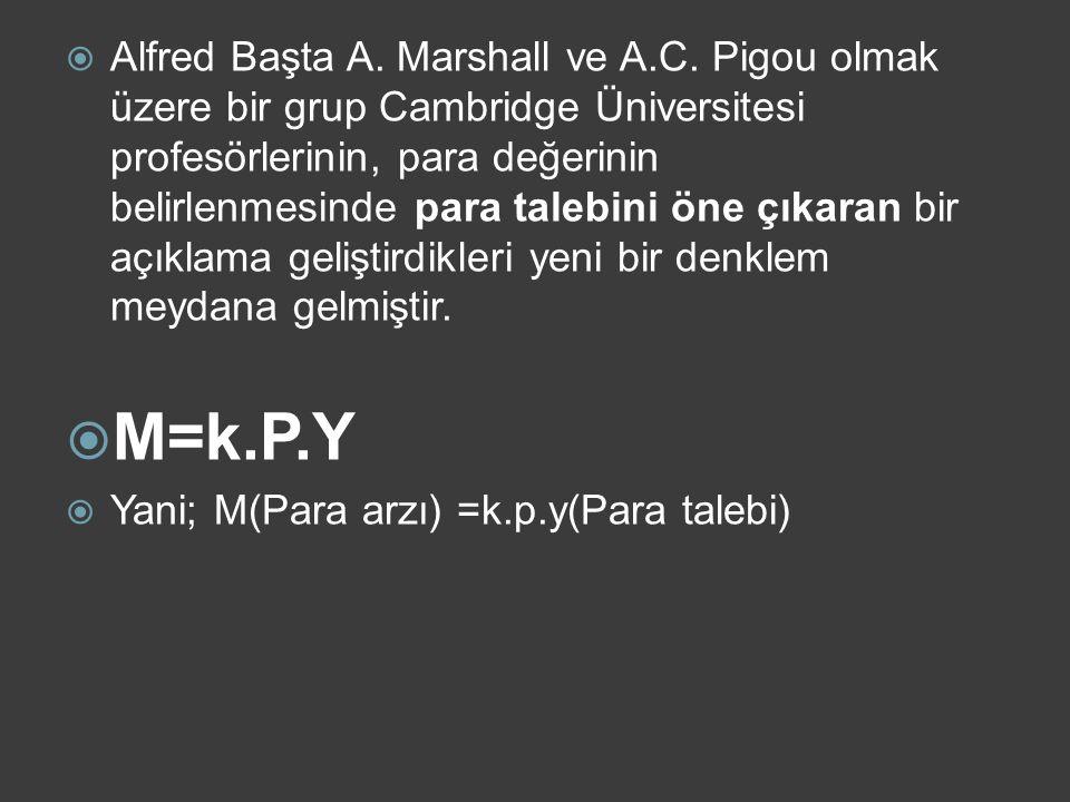 B) Cambridge Denklemi (Para Tutumu Yaklaşımı) Alfred Marshall Arthur Cecil Pigou
