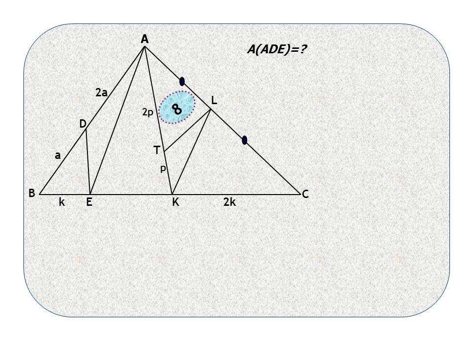 B C a 2a D EK L k2k T p 2p 8 A(ADE)= A