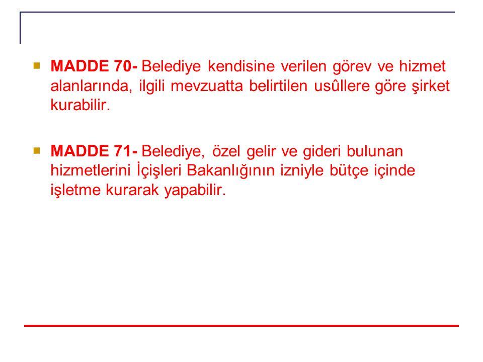  MADDE 70- Belediye kendisine verilen görev ve hizmet alanlarında, ilgili mevzuatta belirtilen usûllere göre şirket kurabilir.