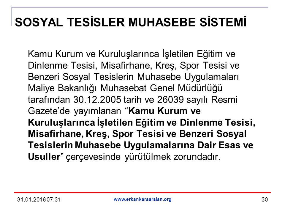 SOSYAL TESİSLER MUHASEBE SİSTEMİ Kamu Kurum ve Kuruluşlarınca İşletilen Eğitim ve Dinlenme Tesisi, Misafirhane, Kreş, Spor Tesisi ve Benzeri Sosyal Tesislerin Muhasebe Uygulamaları Maliye Bakanlığı Muhasebat Genel Müdürlüğü tarafından 30.12.2005 tarih ve 26039 sayılı Resmi Gazete'de yayımlanan Kamu Kurum ve Kuruluşlarınca İşletilen Eğitim ve Dinlenme Tesisi, Misafirhane, Kreş, Spor Tesisi ve Benzeri Sosyal Tesislerin Muhasebe Uygulamalarına Dair Esas ve Usuller çerçevesinde yürütülmek zorundadır.