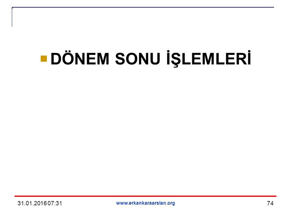 DÖNEM SONU İŞLEMLERİ 31.01.2016 07:33 www.erkankaraarslan.org 74