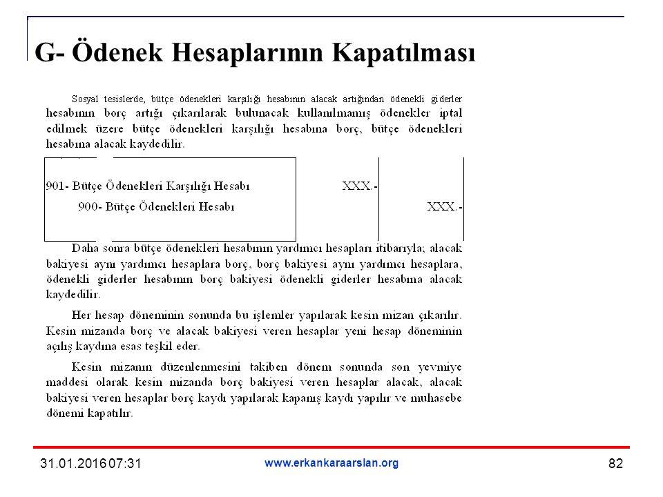 G- Ödenek Hesaplarının Kapatılması 31.01.2016 07:33 www.erkankaraarslan.org 82
