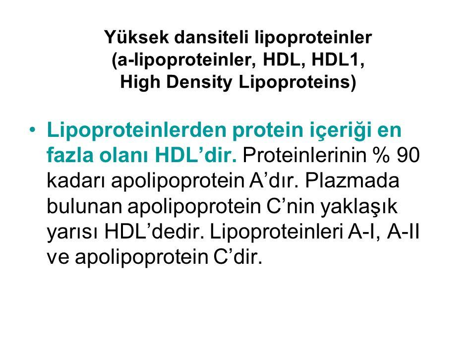 Yüksek dansiteli lipoproteinler (a-lipoproteinler, HDL, HDL1, High Density Lipoproteins) Lipoproteinlerden protein içeriği en fazla olanı HDL'dir. Pro