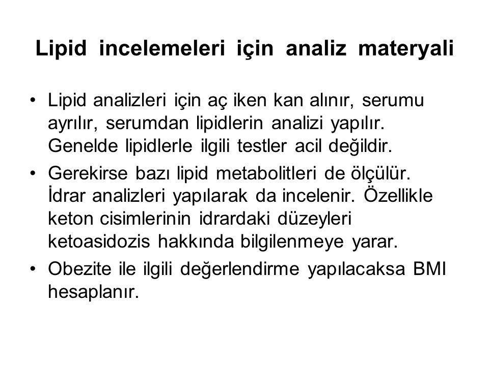 Lipid incelemeleri için analiz materyali Lipid analizleri için aç iken kan alınır, serumu ayrılır, serumdan lipidlerin analizi yapılır. Genelde lipidl