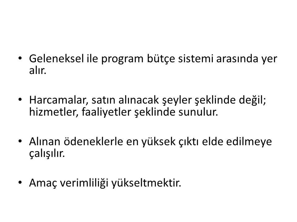 Geleneksel ile program bütçe sistemi arasında yer alır.