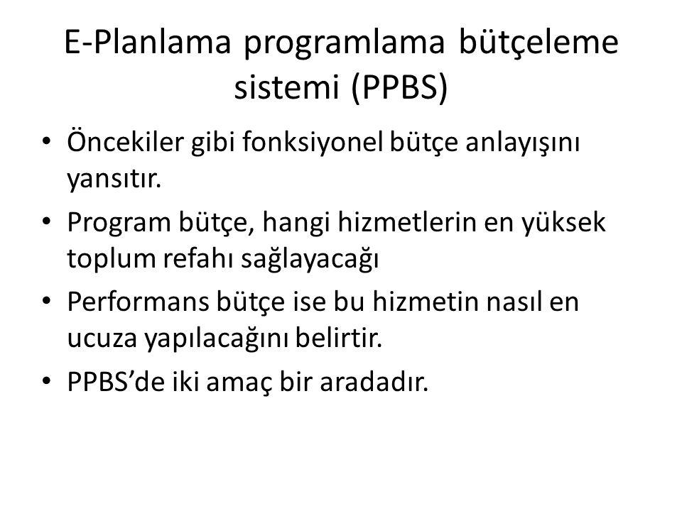 E-Planlama programlama bütçeleme sistemi (PPBS) Öncekiler gibi fonksiyonel bütçe anlayışını yansıtır.