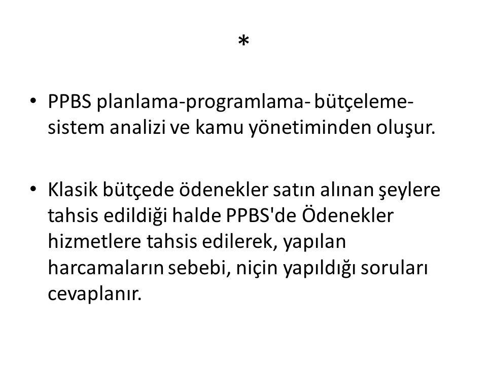 * PPBS planlama-programlama- bütçeleme- sistem analizi ve kamu yönetiminden oluşur.