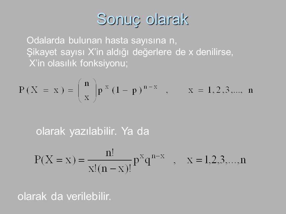 Sonuç olarak Odalarda bulunan hasta sayısına n, Şikayet sayısı X'in aldığı değerlere de x denilirse, X'in olasılık fonksiyonu; olarak yazılabilir. Ya