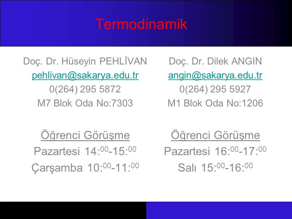 Termodinamik Doç. Dr. Hüseyin PEHLİVAN pehlivan@sakarya.edu.tr 0(264) 295 5872 M7 Blok Oda No:7303 Öğrenci Görüşme Pazartesi 14: 00 -15: 00 Çarşamba 1