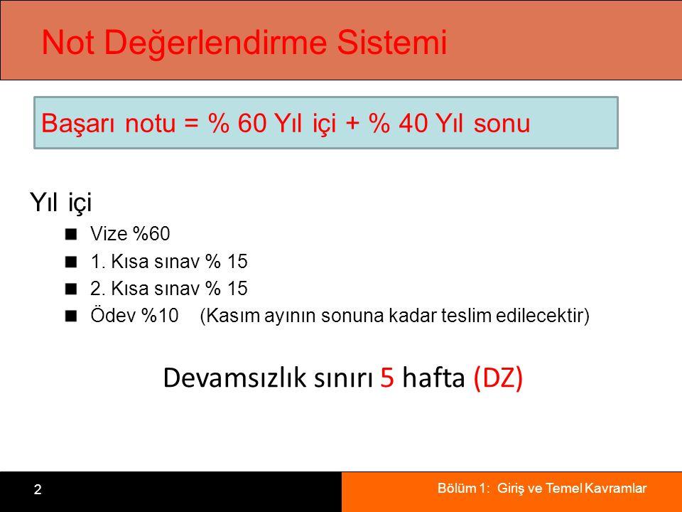 Bölüm 1: Giriş ve Temel Kavramlar 2 Not Değerlendirme Sistemi Yıl içi Vize %60 1. Kısa sınav % 15 2. Kısa sınav % 15 Ödev %10 (Kasım ayının sonuna kad