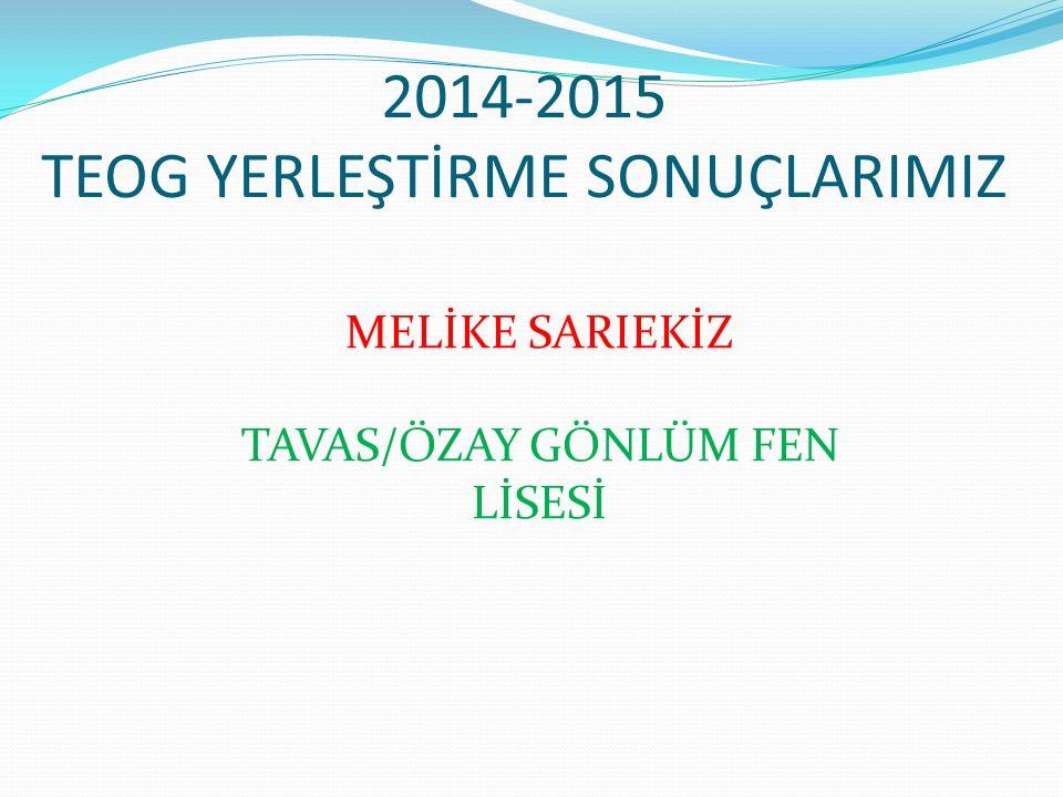 2014-2015 TEOG YERLEŞTİRME SONUÇLARIMIZ MELİKE SARIEKİZ TAVAS/ÖZAY GÖNLÜM FEN LİSESİ