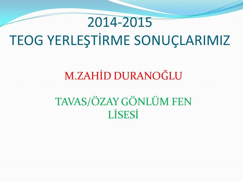 2014-2015 TEOG YERLEŞTİRME SONUÇLARIMIZ M.ZAHİD DURANOĞLU TAVAS/ÖZAY GÖNLÜM FEN LİSESİ