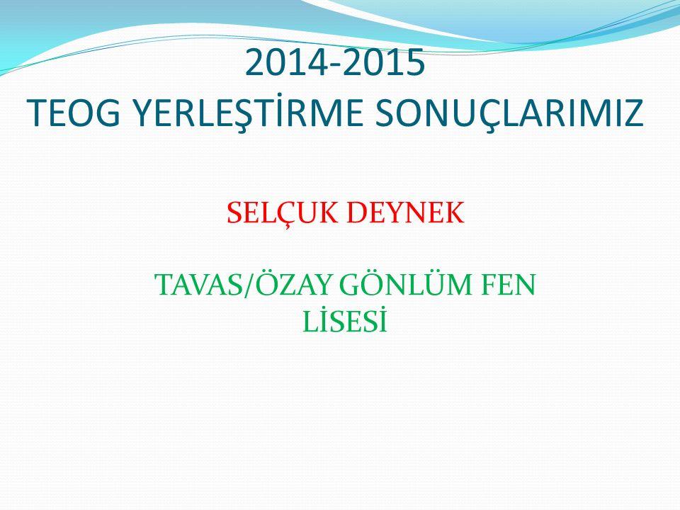 2014-2015 TEOG YERLEŞTİRME SONUÇLARIMIZ SELÇUK DEYNEK TAVAS/ÖZAY GÖNLÜM FEN LİSESİ