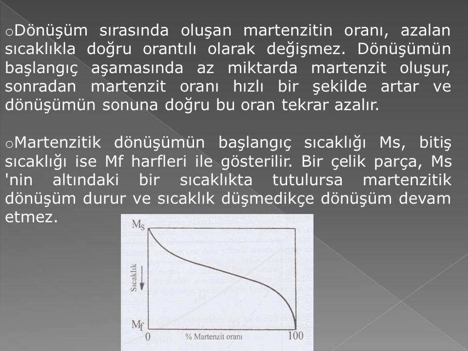 o Dönüşüm sırasında oluşan martenzitin oranı, azalan sıcaklıkla doğru orantılı olarak değişmez.