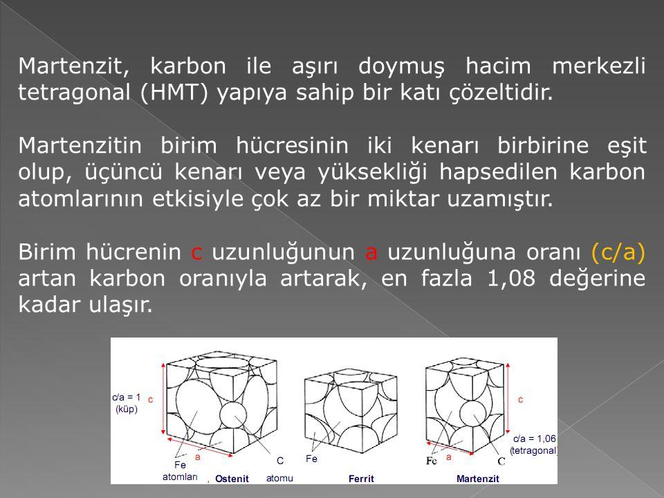 Martenzit, karbon ile aşırı doymuş hacim merkezli tetragonal (HMT) yapıya sahip bir katı çözeltidir.