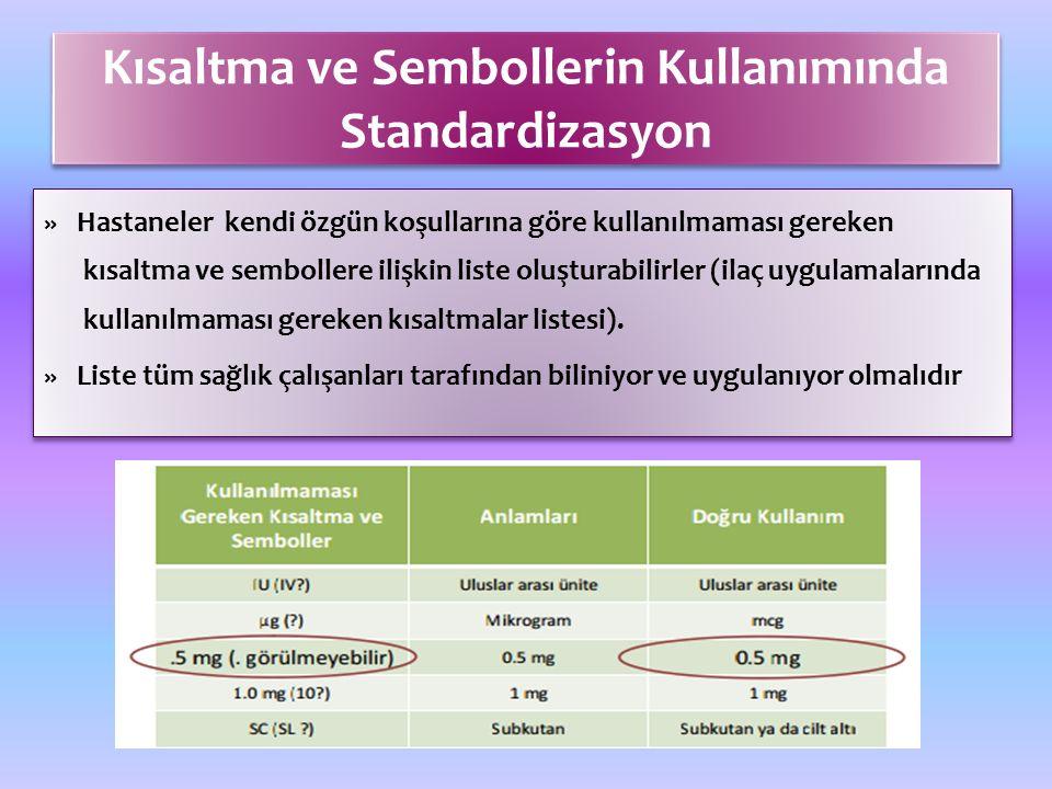 Kısaltma ve Sembollerin Kullanımında Standardizasyon » Hastaneler kendi özgün koşullarına göre kullanılmaması gereken kısaltma ve sembollere ilişkin liste oluşturabilirler (ilaç uygulamalarında kullanılmaması gereken kısaltmalar listesi).