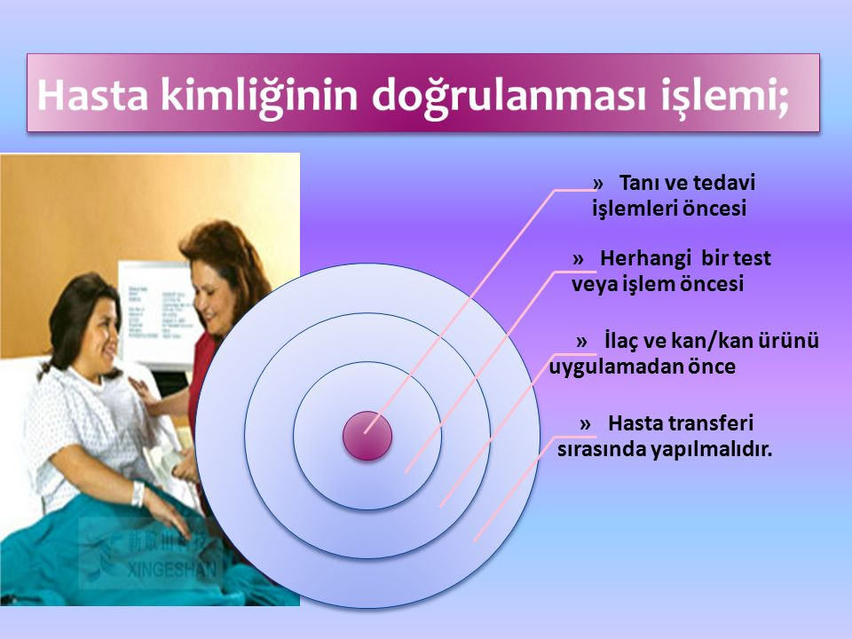 » Tanı ve tedavi işlemleri öncesi » Herhangi bir test veya işlem öncesi » İlaç ve kan/kan ürünü uygulamadan önce » Hasta transferi sırasında yapılmalıdır.