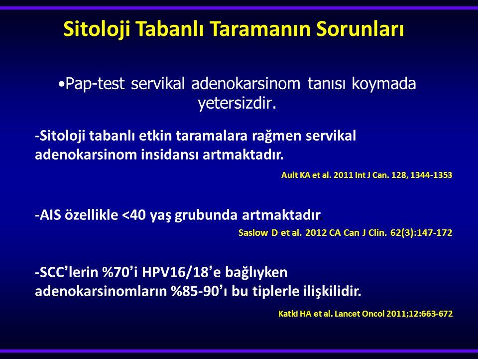 Pap-test servikal adenokarsinom tanısı koymada yetersizdir. Sitoloji Tabanlı Taramanın Sorunları -Sitoloji tabanlı etkin taramalara rağmen servikal ad