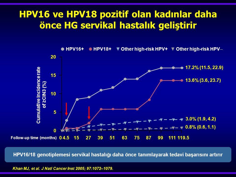 HPV16 ve HPV18 pozitif olan kadınlar daha önce HG servikal hastalık geliştirir Cumulative incidence rate of ≥CIN3 (%) Follow-up time (months) Other hi