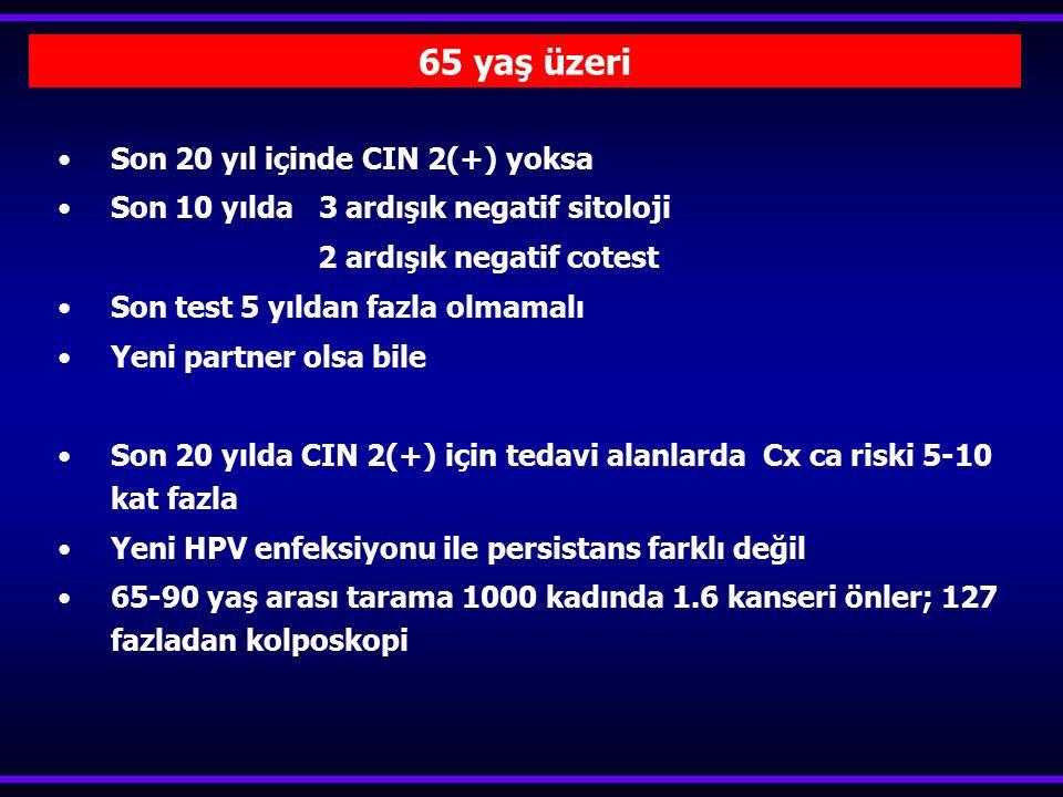 Son 20 yıl içinde CIN 2(+) yoksa Son 10 yılda 3 ardışık negatif sitoloji 2 ardışık negatif cotest Son test 5 yıldan fazla olmamalı Yeni partner olsa b