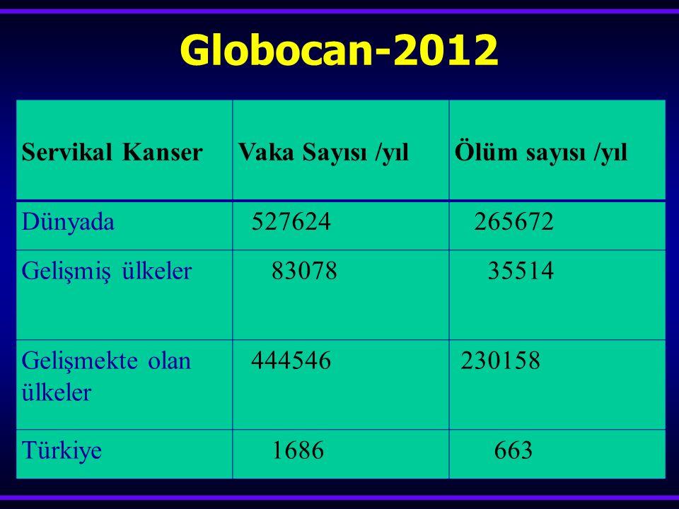 Globocan-2012 Servikal Kanser Vaka Sayısı /yılÖlüm sayısı /yıl Dünyada 527624 265672 Gelişmiş ülkeler 83078 35514 Gelişmekte olan ülkeler 444546 23015