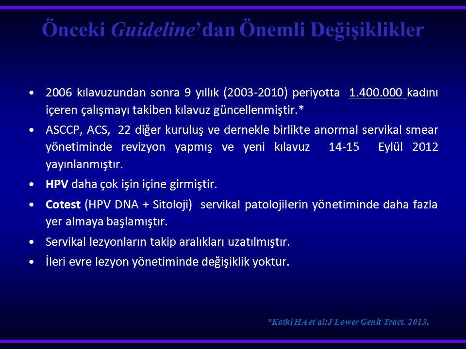 Önceki Guideline'dan Önemli Değişiklikler 2006 kılavuzundan sonra 9 yıllık (2003-2010) periyotta 1.400.000 kadını içeren çalışmayı takiben kılavuz gün