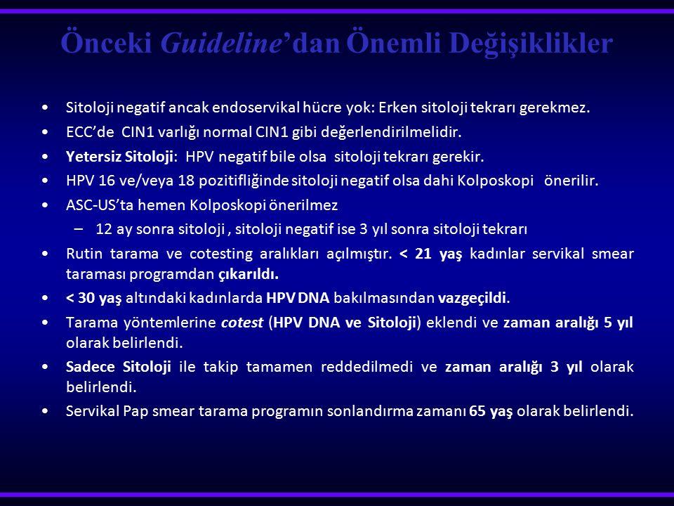 Önceki Guideline'dan Önemli Değişiklikler Sitoloji negatif ancak endoservikal hücre yok: Erken sitoloji tekrarı gerekmez. ECC'de CIN1 varlığı normal C