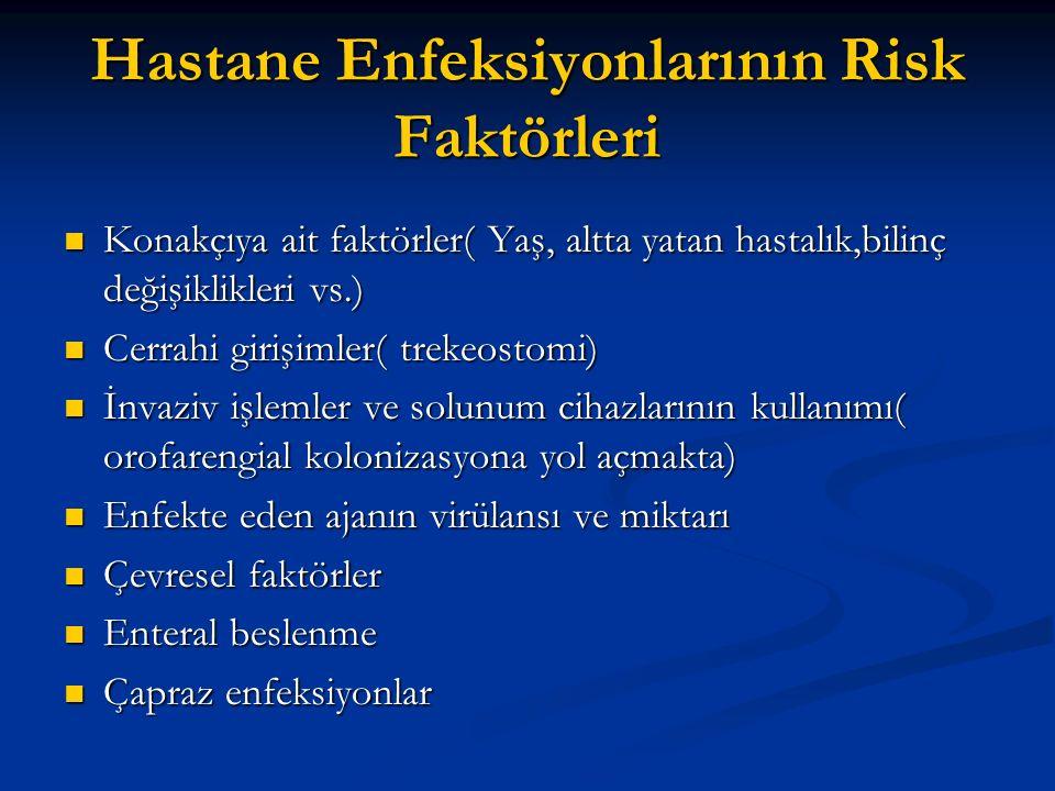 Hastane Enfeksiyonlarının Risk Faktörleri Konakçıya ait faktörler( Yaş, altta yatan hastalık,bilinç değişiklikleri vs.) Konakçıya ait faktörler( Yaş, altta yatan hastalık,bilinç değişiklikleri vs.) Cerrahi girişimler( trekeostomi) Cerrahi girişimler( trekeostomi) İnvaziv işlemler ve solunum cihazlarının kullanımı( orofarengial kolonizasyona yol açmakta) İnvaziv işlemler ve solunum cihazlarının kullanımı( orofarengial kolonizasyona yol açmakta) Enfekte eden ajanın virülansı ve miktarı Enfekte eden ajanın virülansı ve miktarı Çevresel faktörler Çevresel faktörler Enteral beslenme Enteral beslenme Çapraz enfeksiyonlar Çapraz enfeksiyonlar