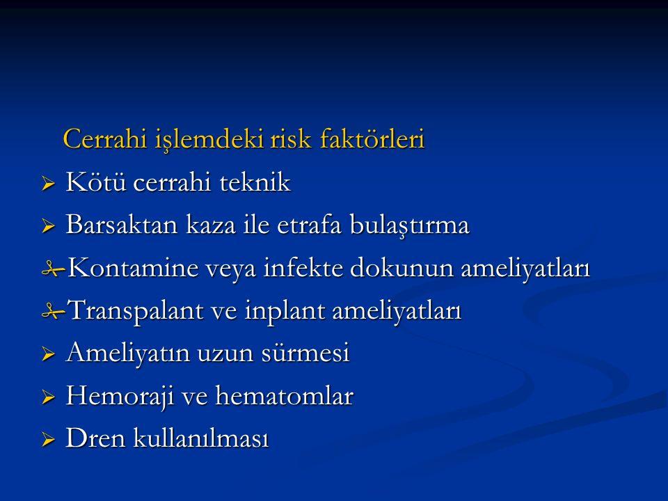 Cerrahi işlemdeki risk faktörleri Cerrahi işlemdeki risk faktörleri  Kötü cerrahi teknik  Barsaktan kaza ile etrafa bulaştırma  Kontamine veya infekte dokunun ameliyatları  Transpalant ve inplant ameliyatları  Ameliyatın uzun sürmesi  Hemoraji ve hematomlar  Dren kullanılması
