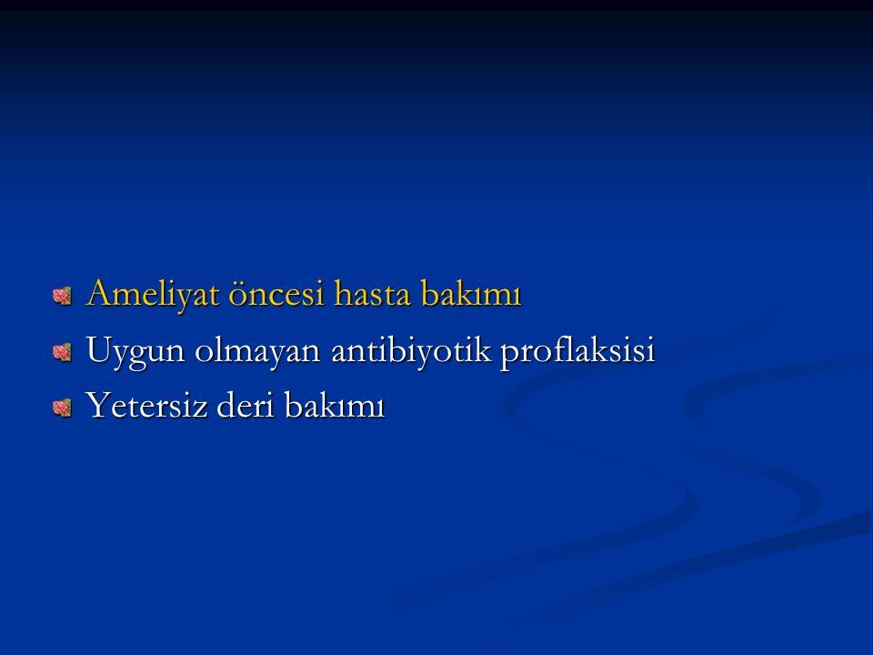 Ameliyat öncesi hasta bakımı Uygun olmayan antibiyotik proflaksisi Yetersiz deri bakımı