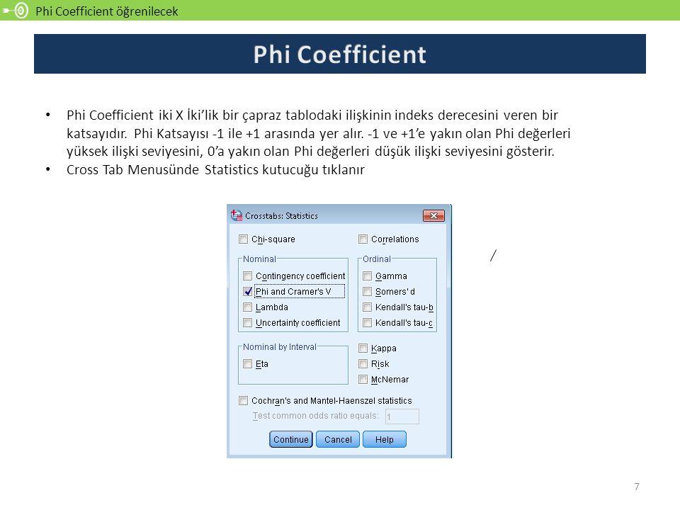 Phi Coefficient öğrenilecek 7 Phi Coefficient iki X İki'lik bir çapraz tablodaki ilişkinin indeks derecesini veren bir katsayıdır. Phi Katsayısı -1 il