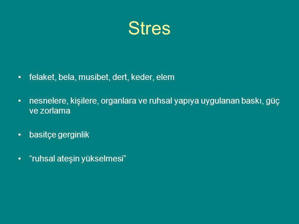 Stres felaket, bela, musibet, dert, keder, elem nesnelere, kişilere, organlara ve ruhsal yapıya uygulanan baskı, güç ve zorlama basitçe gerginlik ruhsal ateşin yükselmesi