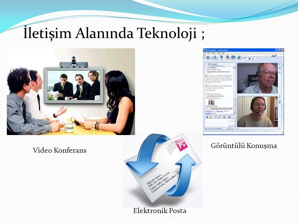 Video Konferans Elektronik Posta Görüntülü Konuşma İletişim Alanında Teknoloji ;