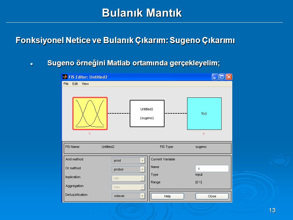13 Bulanık Mantık Fonksiyonel Netice ve Bulanık Çıkarım: Sugeno Çıkarımı Sugeno örneğini Matlab ortamında gerçekleyelim; Sugeno örneğini Matlab ortamı