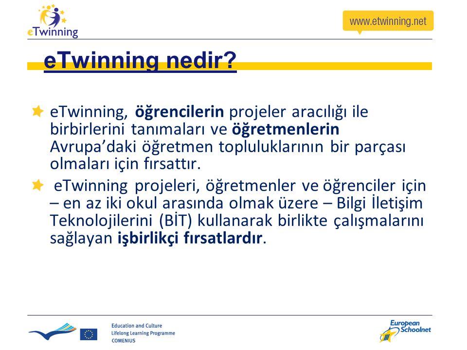 eTwinning nedir? eTwinning, öğrencilerin projeler aracılığı ile birbirlerini tanımaları ve öğretmenlerin Avrupa'daki öğretmen topluluklarının bir parç