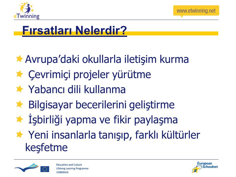 Fırsatları Nelerdir? Avrupa'daki okullarla iletişim kurma Çevrimiçi projeler yürütme Yabancı dili kullanma Bilgisayar becerilerini geliştirme İşbirliğ