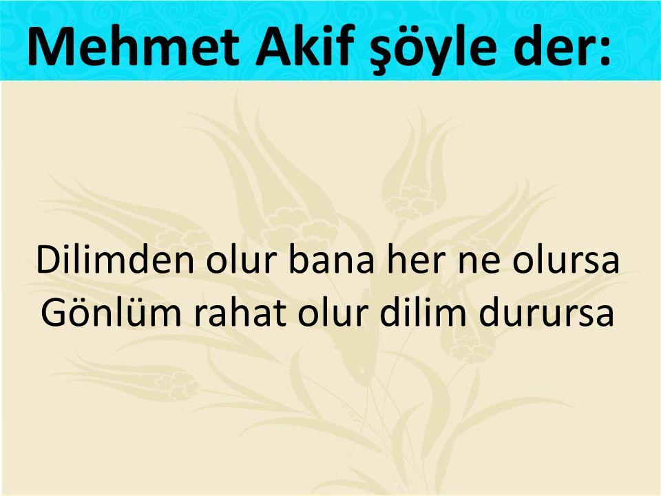 Dilimden olur bana her ne olursa Gönlüm rahat olur dilim durursa Mehmet Akif şöyle der: