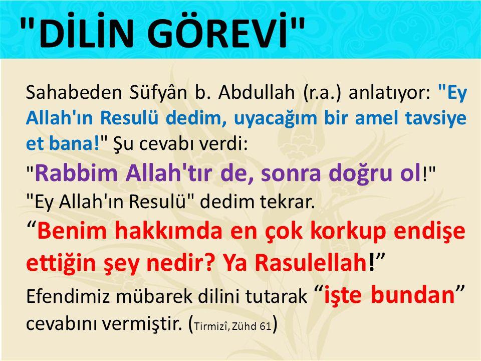 Sahabeden Süfyân b. Abdullah (r.a.) anlatıyor: