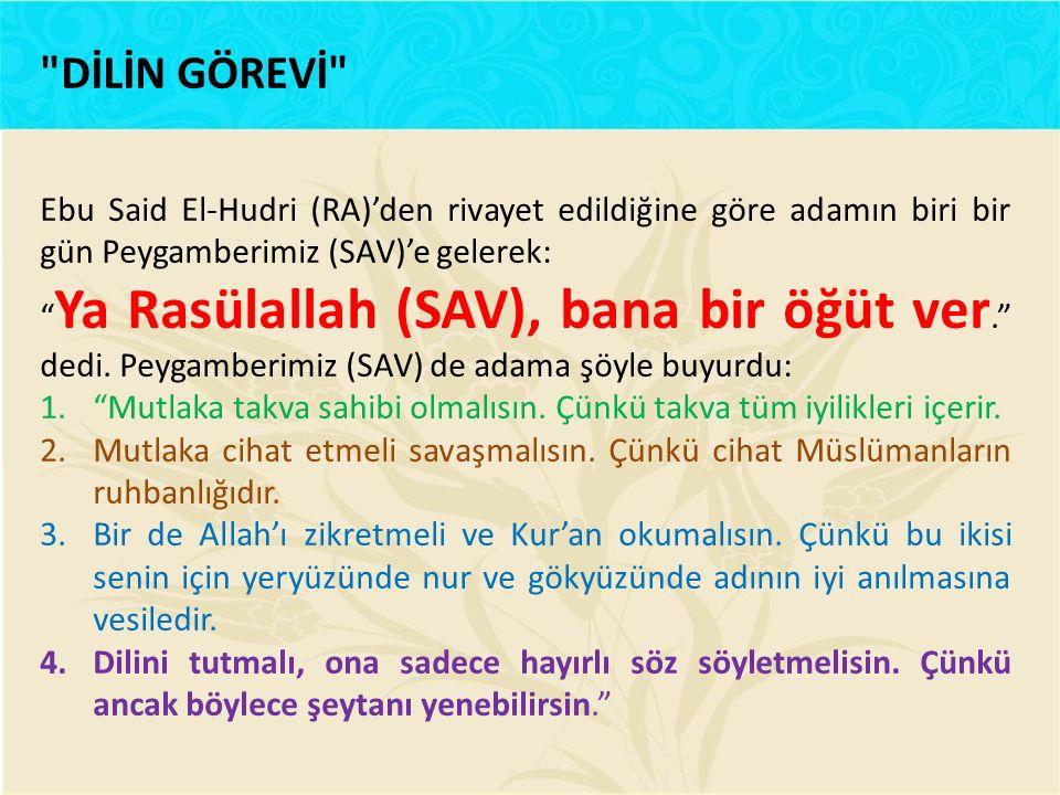 """Ebu Said El-Hudri (RA)'den rivayet edildiğine göre adamın biri bir gün Peygamberimiz (SAV)'e gelerek: """" Ya Rasülallah (SAV), bana bir öğüt ver."""" dedi."""