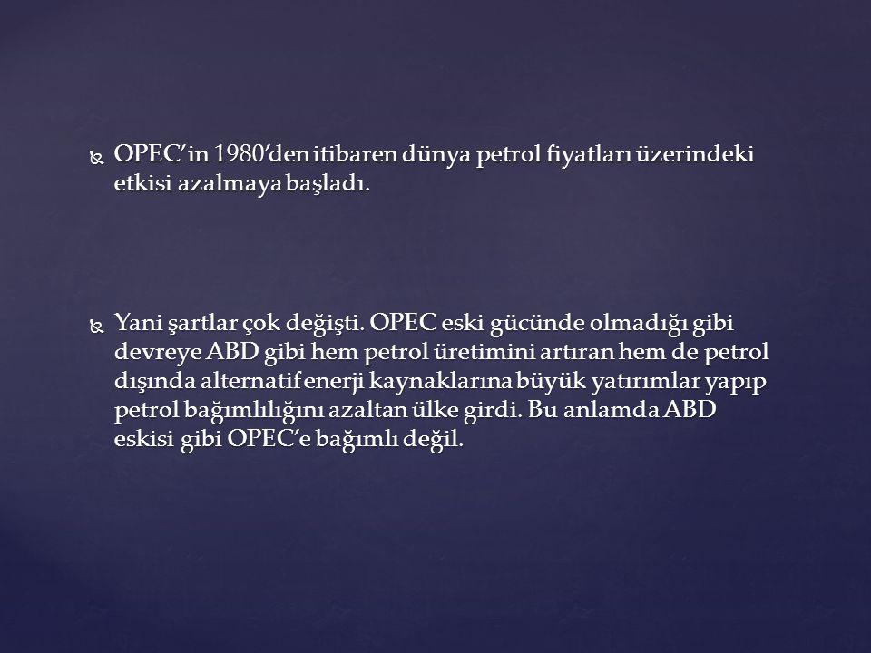  OPEC'in 1980'den itibaren dünya petrol fiyatları üzerindeki etkisi azalmaya başladı.  Yani şartlar çok değişti. OPEC eski gücünde olmadığı gibi dev