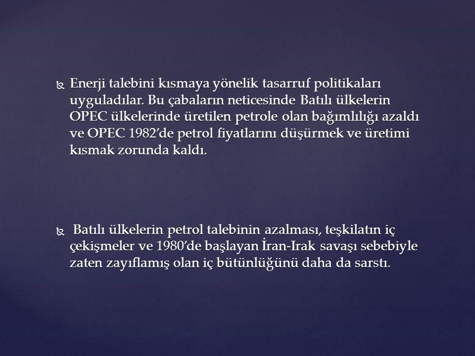  Enerji talebini kısmaya yönelik tasarruf politikaları uyguladılar. Bu çabaların neticesinde Batılı ülkelerin OPEC ülkelerinde üretilen petrole olan