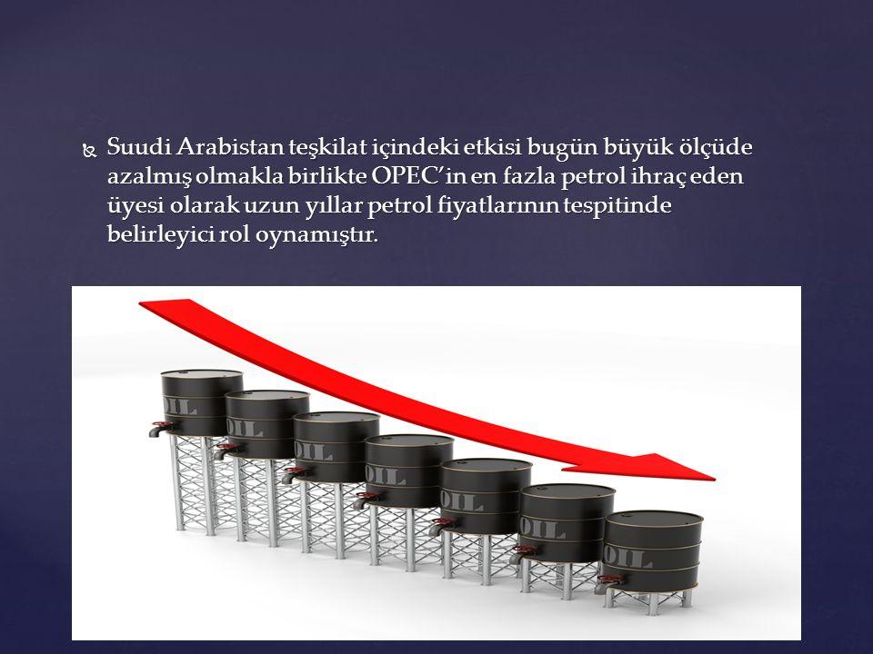  Suudi Arabistan teşkilat içindeki etkisi bugün büyük ölçüde azalmış olmakla birlikte OPEC'in en fazla petrol ihraç eden üyesi olarak uzun yıllar pet